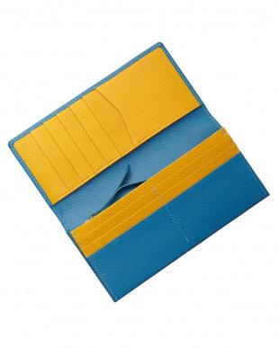 ブルー/イエロー  リガーシリーズ かぶせ長財布見る