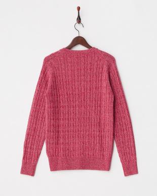 ピンク  コットン混カシミヤ ケーブルクルーネックセーター見る