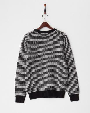 グレー  カシミヤ100% マルチカラークルーネックセーター見る
