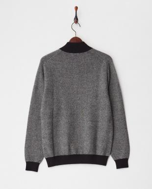 ブラック  カシミヤ100% バーズアイハーフジップセーター見る