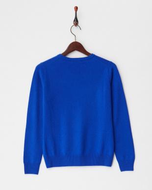 ブルー  クルーネックセーター S-Lサイズ見る