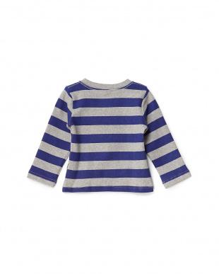 青×灰  ぶたさん刺繍長袖ボーダーTシャツ見る