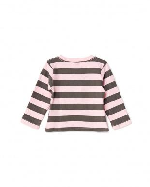 ピンク×灰  ぶたさん刺繍長袖ボーダーTシャツ見る