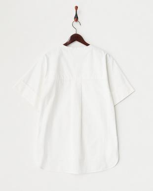 ホワイト  Modernフォルムノーカラーシャツ見る