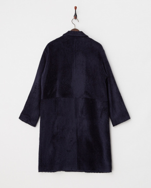NAVY TOY POODLE KNIT LONG DOUBLE COAT見る