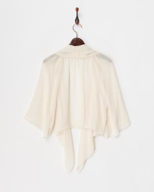 ベージュ  ビーズ刺繍付き とろみシフォン羽織りジャケット見る