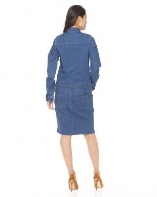 70s BLUE 三つ編みウエストデニムワンピース見る