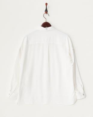 ホワイト とろみ素材ミリタリーシャツ見る