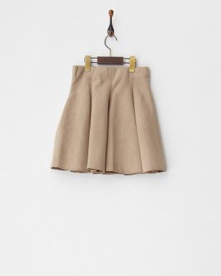 ベージュ スタッズ&ビジュー付きボンディングスカート見る