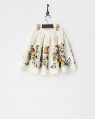 ベージュ系 フラワープリントボンディングスカート(~8Y)見る