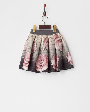 グレー ローズプリントボンディングスカート(8Y~)見る