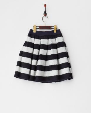 ネイビー ローズプリントワッペンボーダーボンディングスカート(~10Y)見る