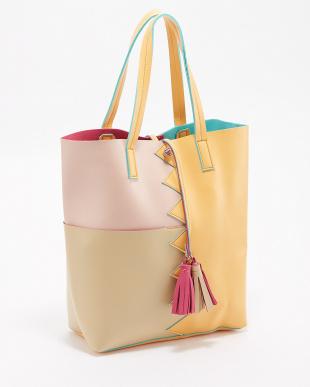 オレンジ  タッセル付きデザイン切り替えトートバッグ|WOMEN見る