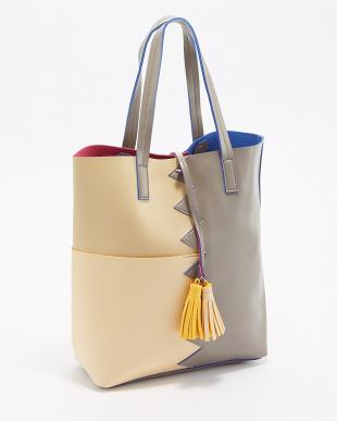 グレー  タッセル付きデザイン切り替えトートバッグ|WOMEN見る