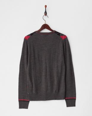 グレー×ピンク  アーガイル柄Vネックセーター見る