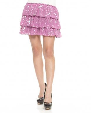 ピンク  箔のせシフォンスカート見る