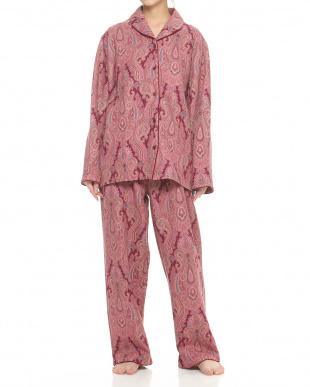 ピンク  ショールカラー風婦人パジャマ見る