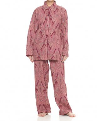 ピンク  スタンドカラー婦人パジャマ見る