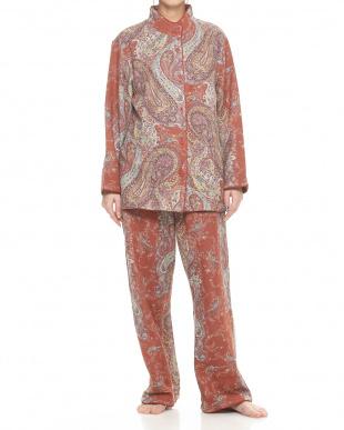 オレンジ  スタンドカラー婦人綿混パジャマ見る