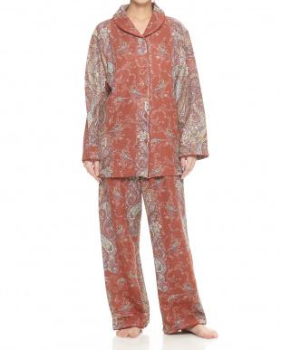 オレンジ  綿混ショールカラー風婦人パジャマ見る