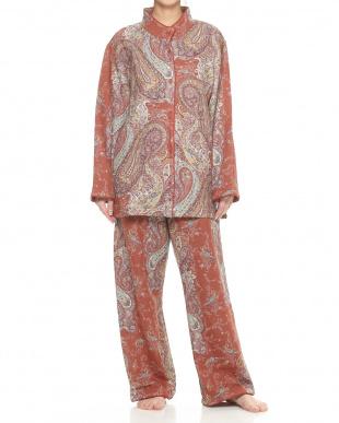 オレンジ  綿混スタンドカラー婦人パジャマ見る