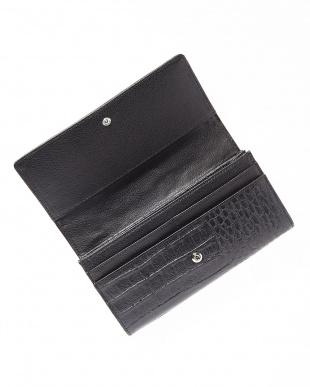 ブラック  カイマンワニ革&牛革クロコ型押しかぶせ式長財布見る