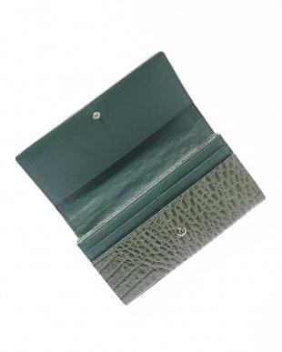 キプロスグリーン  カイマンワニ革&牛革クロコ型押しかぶせ式長財布見る