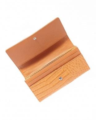 キャメル  カイマンワニ革&牛革クロコ型押しかぶせ式長財布見る