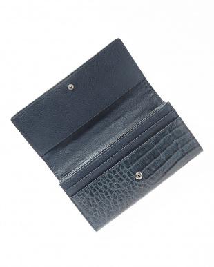 ネイビー  カイマンワニ革&牛革クロコ型押しかぶせ式長財布見る
