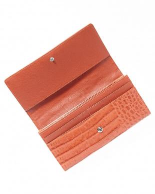 オレンジ  カイマンワニ革&牛革クロコ型押しかぶせ式長財布見る
