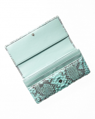 ブルー  ダイヤモンドパイソンかぶせ式長財布見る