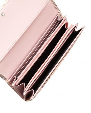 ピンク  ダイヤモンドパイソンかぶせ式長財布見る