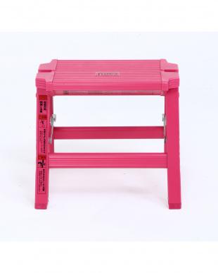 ピンク  アルミ踏み台 1段見る
