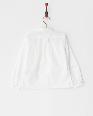 ホワイト 超長綿ブロード長袖ブラウス|UNISEX見る