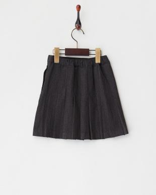 チャコールグレー プリーツ巻き膝丈スカート|GIRL見る