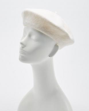 WHITE  シンプルベレー帽見る