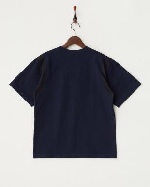ネイビー  メッシュ切り替え半袖Tシャツ見る