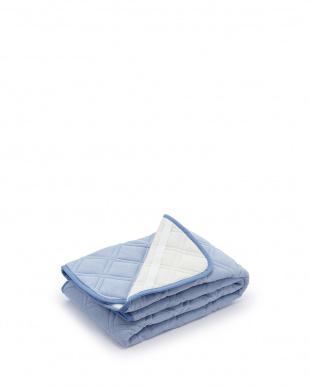 ブルー  綿パイル敷きパッド シングル見る