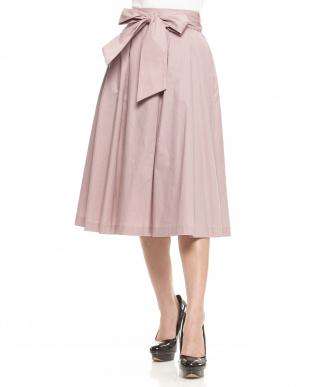 ベビーピンク  シンプルミディスカート見る