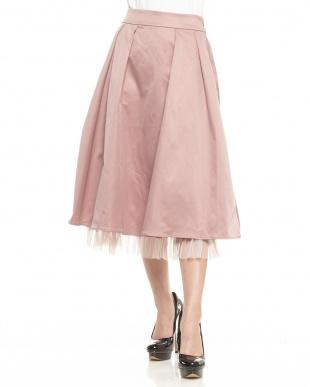 ピンク  裾チュールフレアスカート見る