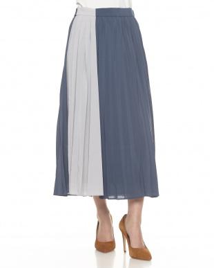 BLUE  配色プリーツスカート見る