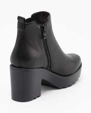 ブラック BLACK サイドゴア厚底ブーツ見る