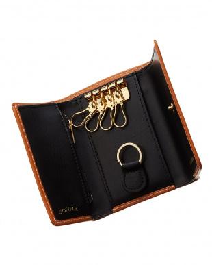 キャメル×ブラック ブライドルレザー 3つ折りウォレットキーケース見る