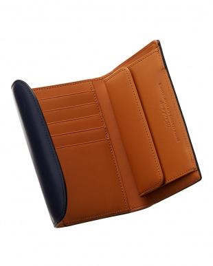 ネイビー  クレイトン社製ブライドルレザー三つ折り財布見る