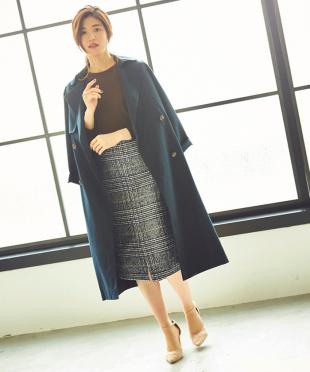 チェック/ダークネイビー フロントスリットパターンタイトスカート見る