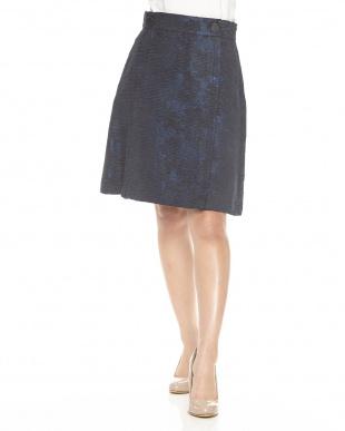ブルー系 PEONIA ジャガードスカート見る