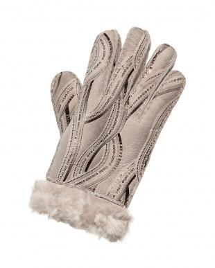 ベージュ ウェイブムートン手袋見る