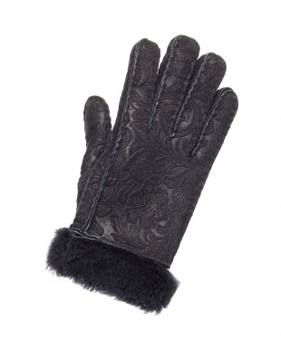 ネイビー フラワームートン手袋見る