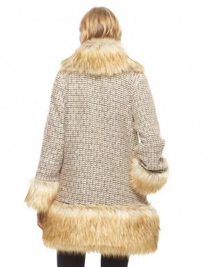 ブラウン  ミックスヤーン裾切り替えコート見る