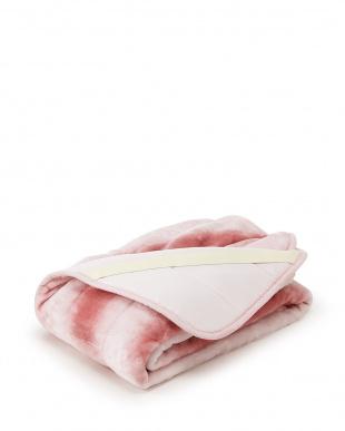 ピンク  フランネル オーロラ柄風プリントパッドシーツ シングル見る